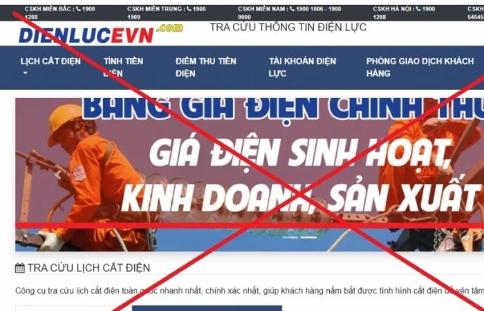 Cảnh báo xuất hiện trang web giả mạo thương hiệu EVN
